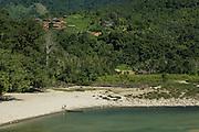 Adi Gallong village on Siyom River<br /> Adi Gallong Tribe<br /> Arunachal Pradesh<br /> North East India