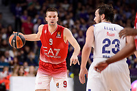Real Madrid's Sergio Llull and EA7 Emporio Armani Milan's Mantas Kalnietis during Turkish Airlines Euroleage match between Real Madrid and EA7 Emporio Armani Milan at Wizink Center in Madrid, Spain. January 27, 2017. (ALTERPHOTOS/BorjaB.Hojas)