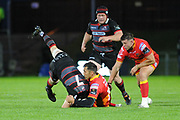 Gavin Henson tackles Hamish Watson during the Guinness Pro 14 2017_18 match between Edinburgh Rugby and Dragons Rugby at Myreside Stadium, Edinburgh, Scotland on 8 September 2017. Photo by Kevin Murray.