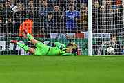 Kepa Arrizabalaga (1) of Chelsea is unable to save the penalty of Sergio Aguero (10) of Manchester City in the shoot out during the Carabao Cup Final match between Chelsea and Manchester City at Wembley Stadium, London, England on 24 February 2019.