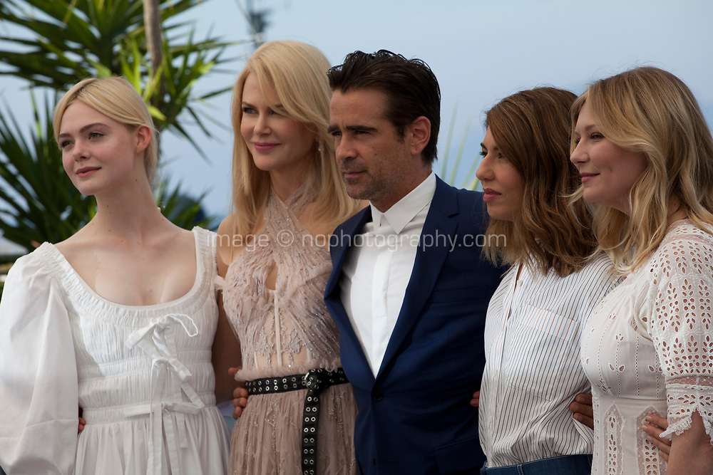 Elle Fanning, Nicole Kidman, Colin Farrell, director Sofia Coppola and Kirsten Dunst at the The Beguiled film photo call at the 70th Cannes Film Festival Wednesday 24th May 2017, Cannes, France. Photo credit: Doreen Kennedy