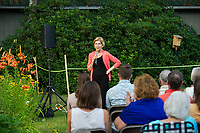 Senator Elizabeth Warren speaks at a Wolfeboro House Party.  Karen Bobotas for the Laconia Daily Sun