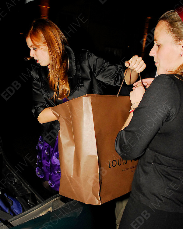 15.OCTOBER.2007. LONDON<br /> <br /> PRINCESS BEATRICE AND PRINCESS EUGENIE LEAVING AUTOMAT RESTAURANT, MAYFAIR AT 2.30AM AFTER ATTENDING MUM SARAH FURGURSON&rsquo;S 48TH BIRTHDAY PARTY. BEATRICE POPPED OUT TO GET A FEW PREZZIES FOR HER MUM AND THEN WENT BACK IN THE RESTAURANT.<br /> <br /> BYLINE: EDBIMAGEARCHIVE.CO.UK<br /> <br /> *THIS IMAGE IS STRICTLY FOR UK NEWSPAPERS AND MAGAZINES ONLY*<br /> *FOR WORLD WIDE SALES AND WEB USE PLEASE CONTACT EDBIMAGEARCHIVE - 0208 954 5968*