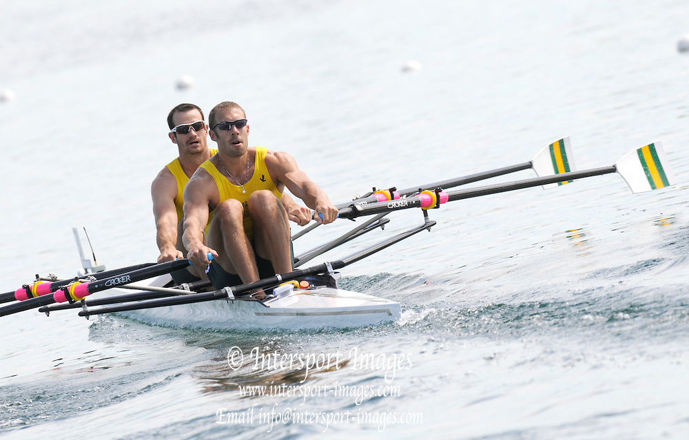 Munich, GERMANY,  Friday Heats Men's Double sculls AUS M2X bow. Jared BIDWELL and Scott BRENNAN. 2012 World Cup III on the Munich Olympic Rowing Course,  Friday   15/06/2012. [Mandatory Credit Peter Spurrier/ Intersport Images]..