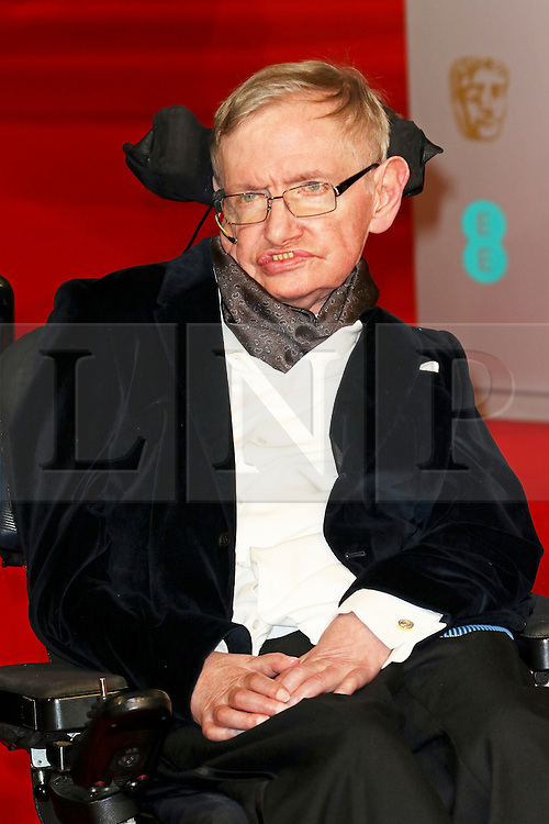 © London News Pictures. Stephen Hawking, EE British Academy Film Awards (BAFTAs), Royal Opera House Covent Garden, London UK, 08 February 2015, Photo by Richard Goldschmidt /LNP