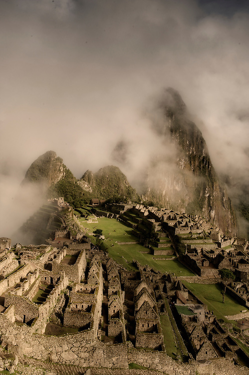 Machu Picchu, the deserted city in the Andes of Peru.