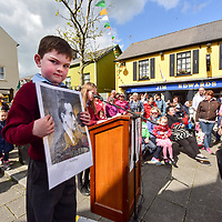William Walsh from Junior Infants Belgooly National School holds a picture of Padraig Pearse at a 1916 commemoration by students from local schools in the Kinsale area and organised by the Kinsale Historical Society.<br /> Picture. John Allen