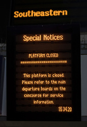 © Licensed to London News Pictures. 13/12/2016. London, UK. A platform closed sign on platform 10 at Victoria Station. Today is the first day of three days of train strikes this week. Unions are opposed to management plans to give responsibility to drivers for closing the passenger doors at the station.  Photo credit: Peter Macdiarmid/LNP