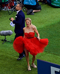 MOSCOW, RUSSIA - Sunday, July 1, 2018: A stadium announcers dances in a red dress at half-time during the FIFA World Cup Russia 2018 Round of 16 match between Spain and Russia at the Luzhniki Stadium. (Pic by David Rawcliffe/Propaganda)