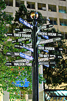 Famous direction post in Pioneer Courthouse Square in Portland, OR