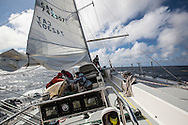 North Atlantic Ocean, September 2014.<br /> The crew is challenged by the rough sea while recovering  the trawls back on the Sea Dragon. &copy; Chiara Marina Grioni