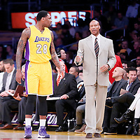 13 January 2014: Los Angeles Lakers forward Tarik Black (28) listens to Los Angeles Lakers head coach Byron Scott during the Miami Heat 78-75 victory over the Los Angeles Lakers, at the Staples Center, Los Angeles, California, USA.