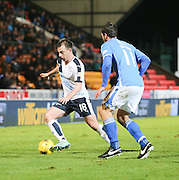 Dundee&rsquo;s Paul McGowan takes on St Johnstone&rsquo;s John Sutton - St Johnstone v Dundee, Ladbrokes Scottish Premiership at McDiarmid Park<br /> <br />  - &copy; David Young - www.davidyoungphoto.co.uk - email: davidyoungphoto@gmail.com