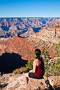 Woman enjoying the Grand Canyon from the South Rim, Grand Canyon National Park, Arizona