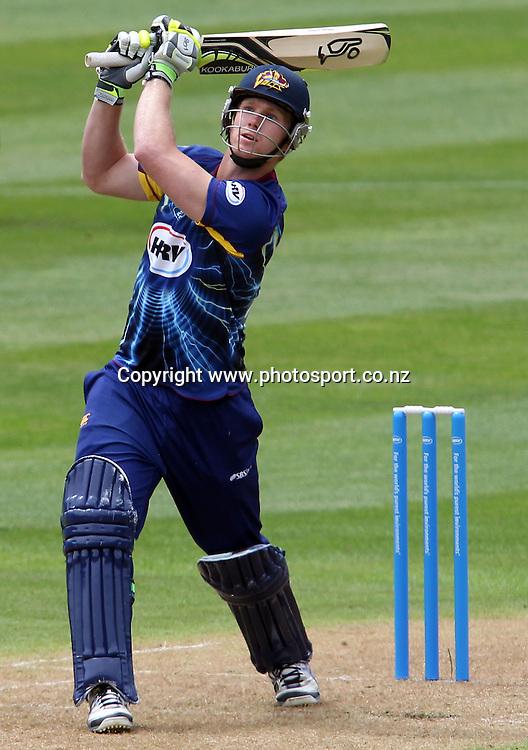 Jimmy Neesham of the Volts hits out.<br /> Twenty20 Cricket - HRV Cup, Otago Volts v Central Stags, 6 January 2013, University Oval, Dunedin, New Zealand.<br /> Photo: Rob Jefferies / photosport.co.nz