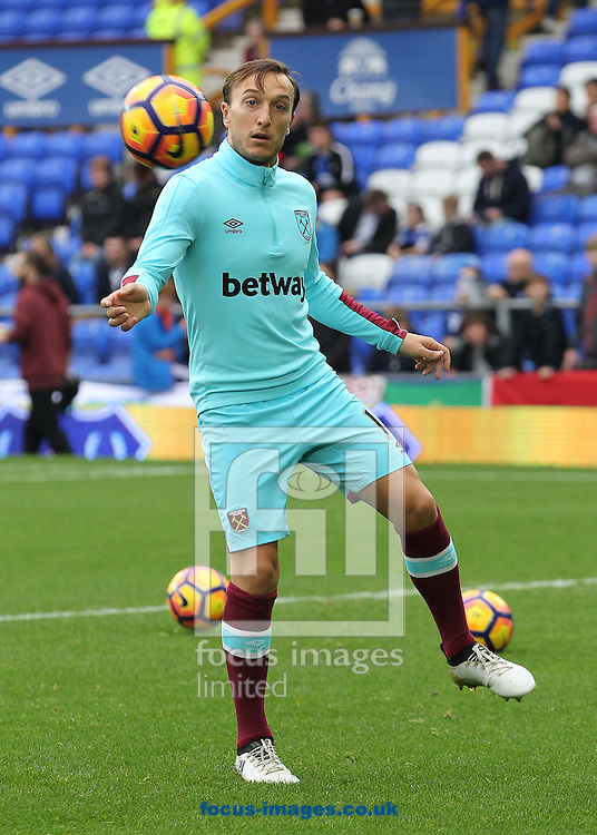 Mark Noble of West Ham United warms up prior to the Premier League match against Everton at Goodison Park, Liverpool.<br /> Picture by Michael Sedgwick/Focus Images Ltd +44 7900 363072<br /> 30/10/2016