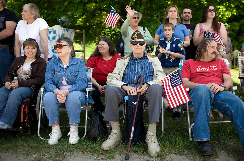 Spectators watch the annual Memorial Day parade in Tunbridge, Vt., on May 26, 2008. The parade is an annual tradition in the community of about 1,000. (Photo by Geoff Hansen)