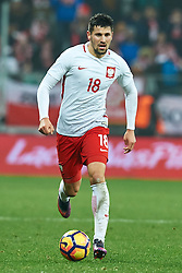 Wroclaw, Poland - 2016 November 14: Pawel Wszolek of Poland controls the ball during Poland v Slovenia - International Friendly Soccer Match at Municipal Stadium on November 14, 2016 in Wroclaw, Poland.<br /> <br /> Adam Nurkiewicz declares that he has no rights to the image of people at the photographs of his authorship.<br /> <br /> Picture also available in RAW (NEF) or TIFF format on special request.<br /> <br /> Any editorial, commercial or promotional use requires written permission from the author of image.<br /> <br /> Mandatory credit:<br /> Photo by © Adam Nurkiewicz / Mediasport