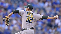April 13, 2017 - Kansas City, MO, USA - Oakland Athletics starting pitcher Jesse Hahn throws in the first inning against the Kansas City Royals at Kauffman Stadium in Kansas City, Mo., on Thursday, April 13, 2017. (Credit Image: © John Sleezer/TNS via ZUMA Wire)