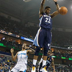 January 19, 2011; New Orleans, LA, USA; Memphis Grizzlies small forward Rudy Gay (22) dunks against the New Orleans Hornets during the first half at the New Orleans Arena.   Mandatory Credit: Derick E. Hingle