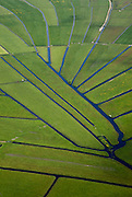 Nederland, Noord-Holland, Gemeente Ouder-Amstel, 25-05-2010. The Polder Rondehoep (or Polder Round Hoep), one of the largest undeveloped pasture area's in the Randstad (ring city AMsterdam, Utrecht, The Hague). The characteristic star-shaped pattern is the result of the extraction during the Middle Ages.<br />