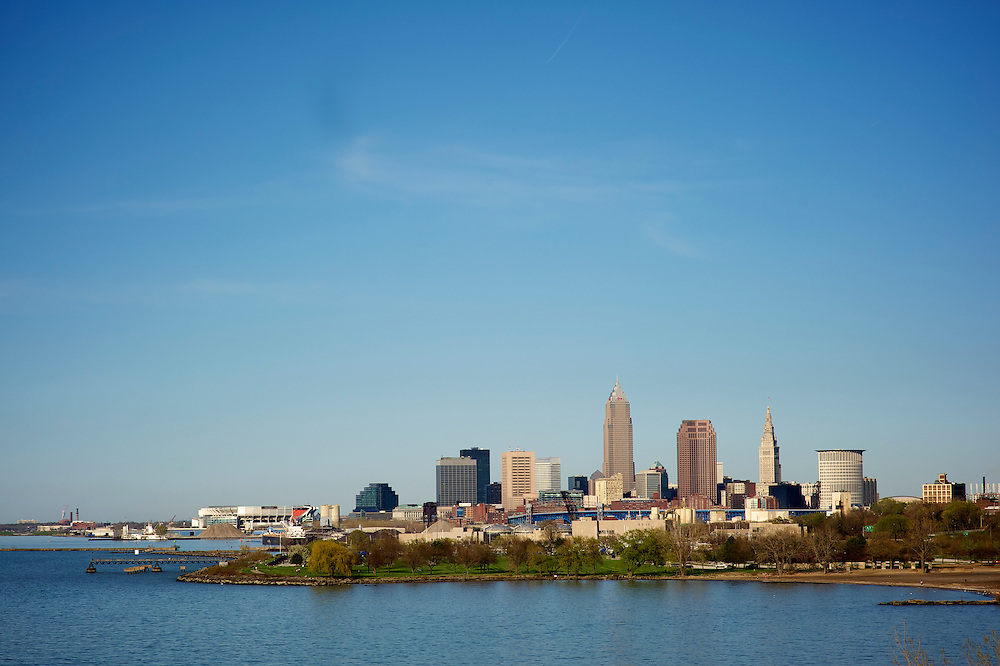 A view of the Cleveland skyline looking East over Lake Erie.