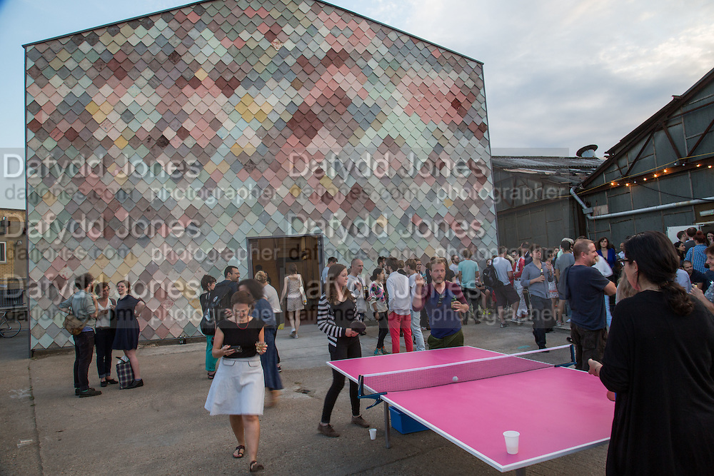 Opening of the Yardhouse. Built and designed by Assemble. Sugarhouse Studios, Stratford. London. 13 June 2014.