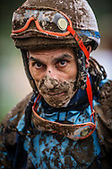 ARCADIA, CA - JANUARY 07: A muddy Gonzalo Gabriel Ulloa Perez after the San Gabriel Stakes at Santa Anita Park on January 7, 2017 in Arcadia, California. (Photo by Alex Evers/Eclipse Sportswire/Getty Images)