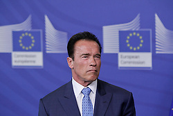 59895739 <br /> U.S. actor and former Governor of California Arnold Schwarzenegger attends a press conference with European Commission President Jose Manuel Barroso (not seen) after their meeting at the European Union headquarters in Brussels, capital of Belgium, on June 24, 2013. They talked about climate change during their meeting on Monday  June 24, 2013. Picture by imago / i-Images<br /> UK ONLY