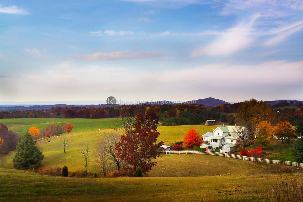 FLOYD, VA,  A farmhouse surrounded by fall foliage in Floyd, Virginia.