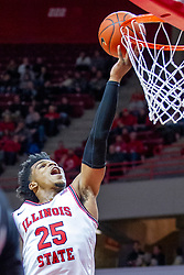 NORMAL, IL - January 19: Jaycee Hillsman approaches a lay up during a college basketball game between the ISU Redbirds and the Loyola University Chicago Ramblers on January 19 2020 at Redbird Arena in Normal, IL. (Photo by Alan Look)