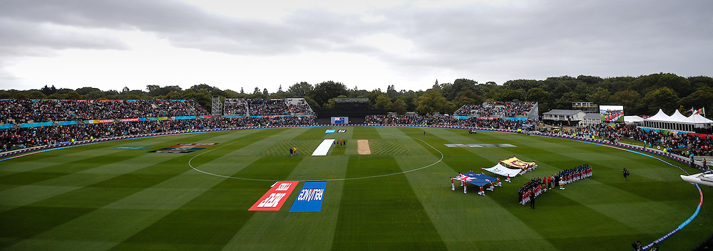 General view at the start of the match, the ICC Cricket World Cup match between New Zealand and Sri Lanka at Hagley Oval in Christchurch, New Zealand. Saturday 14 February 2015. Copyright Photo: John Davidson / www.Photosport.co.nz