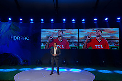 April 17, 2018 - Sao Paulo, Sao Paulo, Brazil - KEVIN WANG, CEO of TCL, during Semp TCL's event, a joint venture between Brazilian Semp and Chinese TCL, to confirm the participation of the player Neymar Jr as its new face, in Sao Paulo, Brazil. The footballer will star in television, internet and print media campaigns. (Credit Image: © Paulo Lopes via ZUMA Wire)