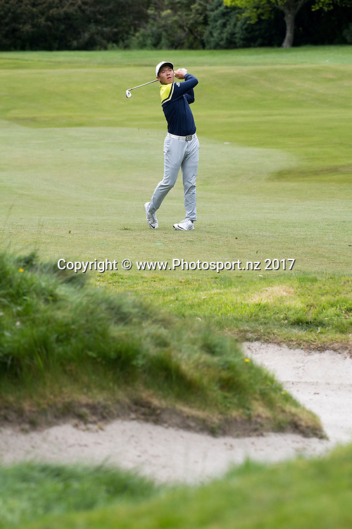 China's Andy Zhang hits to the green on the 16th during the final day of the Asia-Pacific Amateur golf Championship at the Royal Wellington Golf course in Upper Hutt on Sunday the 29 October 2017. Copyright Photo by Marty Melville / www.Photosport.nz