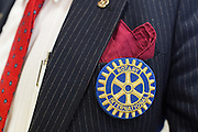 Milpitas Rotary Club representative Frank De Smidt wears a patch during the Rotary Club Leo B. Murphy Award for MUSD Teacher of the Year at the Milpitas Public Library in Milpitas, California, on August 31, 2015. (Stan Olszewski/SOSKIphoto)