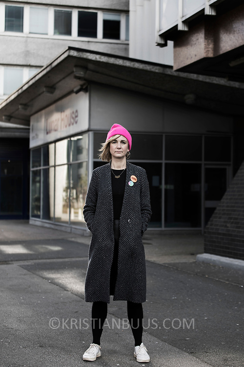 Ruth Potts of the Standsted 15. Photographed in Croydon, South London outside Lunar House. Lunar House is the  headquarters of UK Visas and Immigration, a division of the Home Office in the United Kingdom.