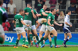 Ireland U20 players celebrate their historic win at the final whistle - Mandatory byline: Patrick Khachfe/JMP - 07966 386802 - 11/06/2016 - RUGBY UNION - Manchester City Academy Stadium - Manchester, England - New Zealand U20 v Ireland U20 - World Rugby U20 Championship 2016.