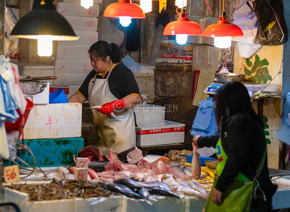 Fish shop at Wan Chai Road, Hong Kong, China.