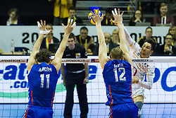 06.01.2016, Max Schmeling Halle, Berlin, GER, CEV Olympia Qualifikation, Frankreich vs Russland, im Bild Kevin Tillie (#7, Frankreich) // 2016 CEV Volleyball European Olympic Qualification Match between France and Russia at the Max Schmeling Halle in Berlin, Germany on 2016/01/06. EXPA Pictures © 2016, PhotoCredit: EXPA/ Eibner-Pressefoto/ Wuechner<br /> <br /> *****ATTENTION - OUT of GER*****