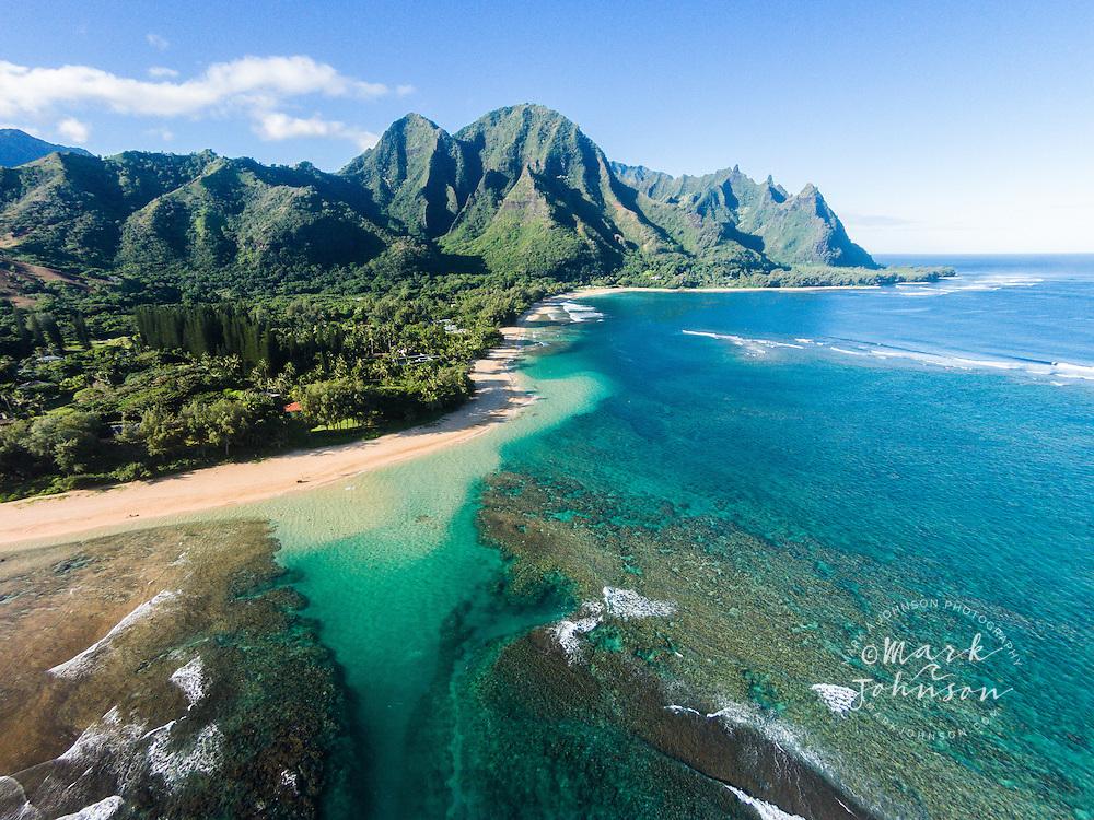 Aerial photograph of Makua Beach, (Tunnels beach), Haena, Kauai, Hawaii, USA