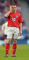 Fotball<br /> Photo. Jed Wee, Digitalsport<br /> NORWAY ONLY<br /> <br /> England v Japan, The FA Summer Tournament, 01/06/2004.<br /> England's Michael Owen knows England need to improve to do well in Portugal after a lackluster performance.