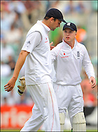 Steve Harmison sypathises with Tim Ambrose after a ball he bowled hit him in the mouth during the fourth Test at the Oval on the 7th of August 2008..England v South Africa .Photo by Philip Brown.www.philipbrownphotos.com