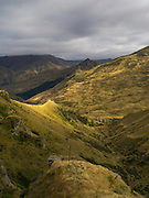 Looking down Skipper's Canyon and the Shotover River from near Skipper's Saddle, near Queenstown, Otago, New Zealand.  Skipper's Canyon is an historical gold mining area of the Otago Region.