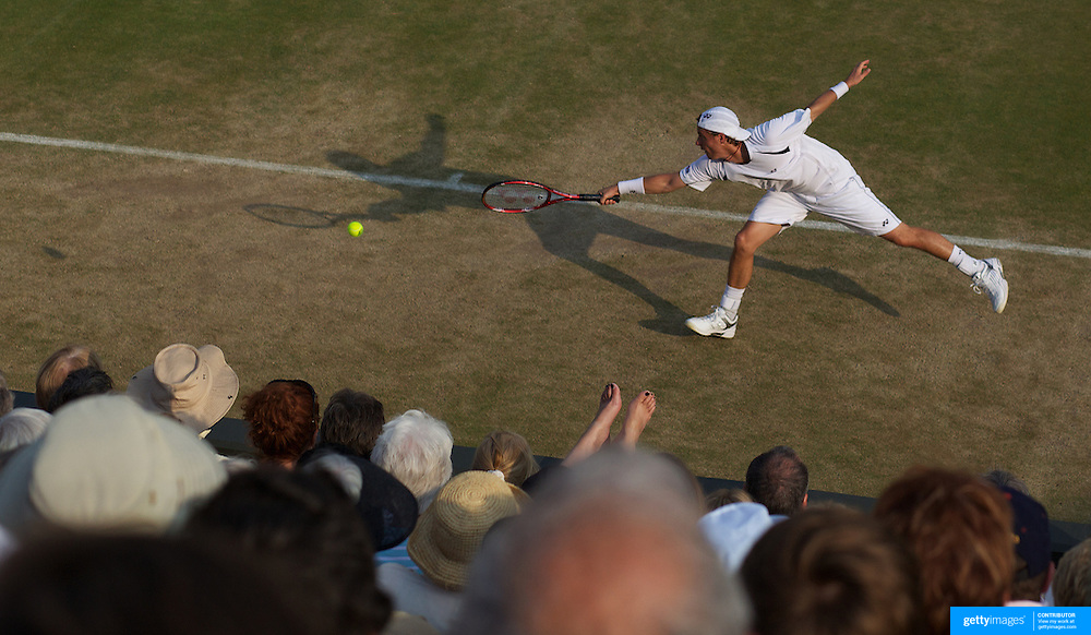 Lleyton Hewitt, Australia, in action during his five set victory over Radek Stepanek, CZE, in the fourth round of the Men's Singles Championships at the All England Lawn Tennis Championships at Wimbledon, London, England on Monday, June 29, 2009. Photo Tim Clayton.