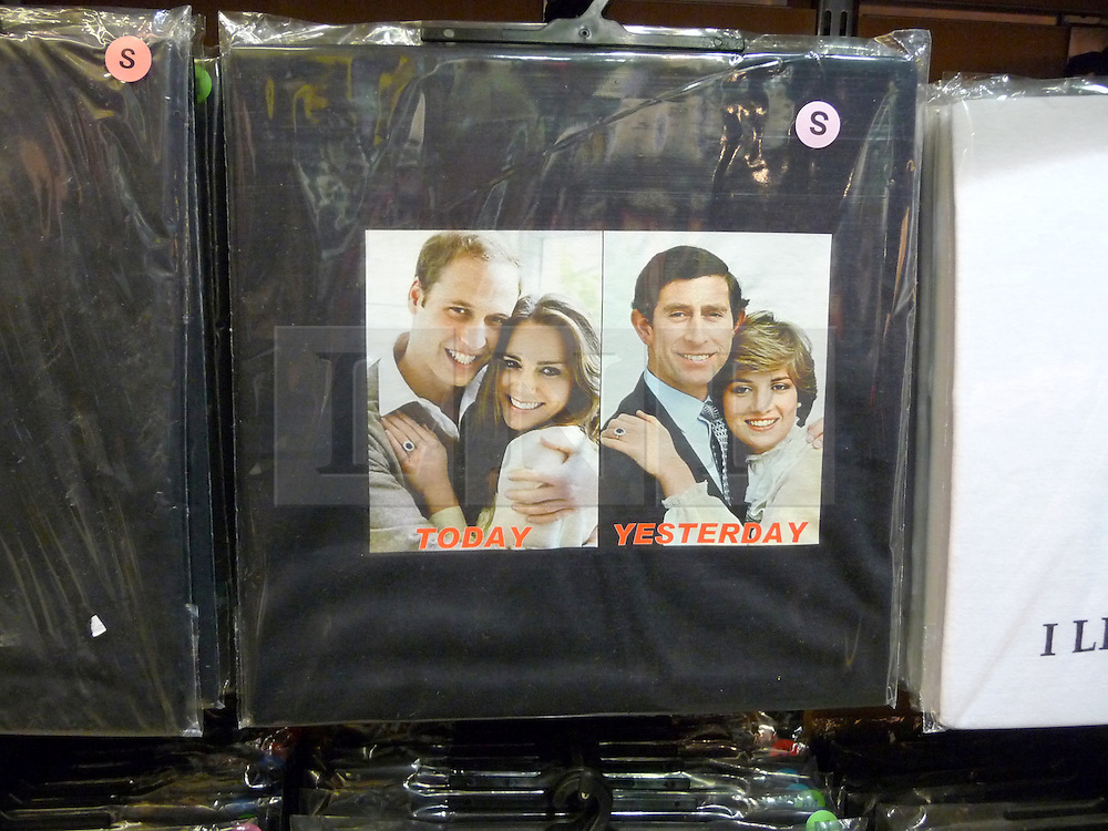 © under license to London News Pictures.  .William and Kate souvenirs ahead of the Royal Wedding in April 2011..T-Shirts of the Royal Couple with the photos of Prince Charles and Princess Diana..Photo credit should read Craig Shepheard / London News Pictures