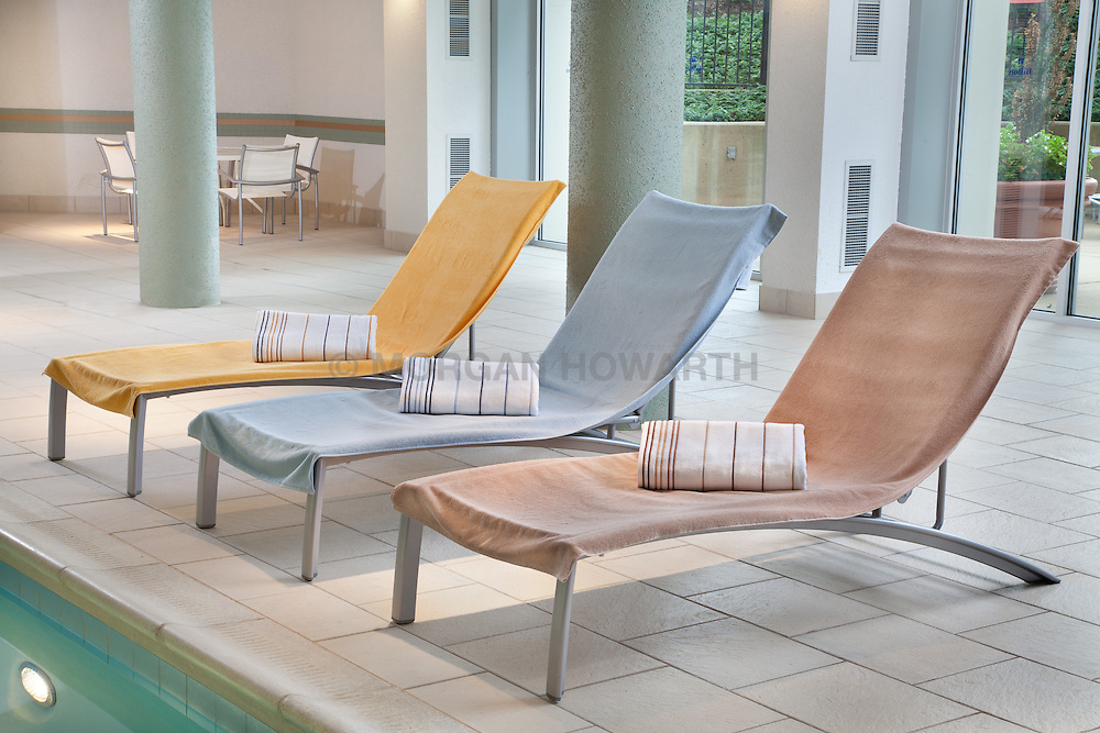 Indoor Pool Lounge chairs at Marriott Hotel