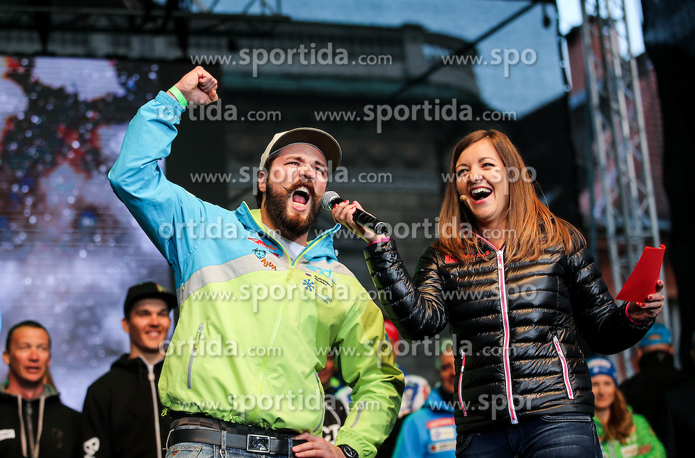 Filip Flisar and Anja Hlaca Florjancic during reception of Slovenian Winter athletes after the end of season 2015/16, on March 22, 2016 in Kongresni trg, Ljubljana, Slovenia. Photo by Matic Klansek Velej / Sportida