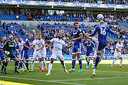 Matthew Connolly of Cardiff City heads the ball back into danger during the EFL Sky Bet Championship match between Cardiff City and Leeds United at the Cardiff City Stadium, Cardiff, Wales on 17 September 2016. Photo by Andrew Lewis.