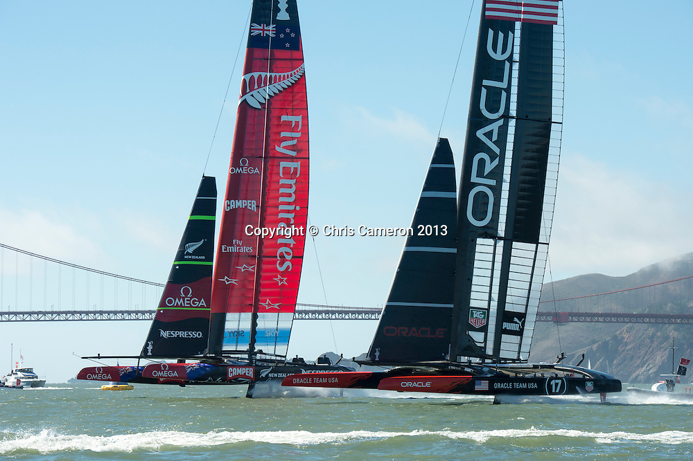 Emirates Team New Zealand and Oracle Team USA start race 15 on day 12 of America's Cup 34. 22/9/2013