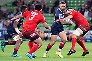 MELBOURNE, AUSTRALIA - APRIL 06: Quade Cooper of the Rebels looks to pass at round 8 of The Super Rugby match between Melbourne Rebels and Sunwolves on April 06, 2019 at AAMI Park in VIC, Australia. (Photo by Speed Media/Icon Sportswire)